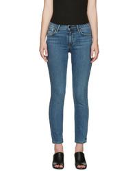 Helmut Lang Blue Skinny Light Destroy Jeans
