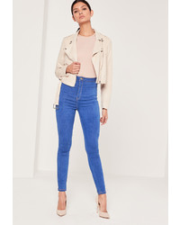 Missguided Super Stretch High Waisted Skinny Jeans Blue