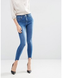 Asos Ridley Skinny Jeans In Akira Bright Wash With Stepped Hem