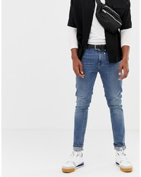 Collusion Skinny Jeans In Blue Mid Wash
