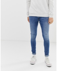 Jack & Jones Spray On Skinny Fit Jeans In Blue