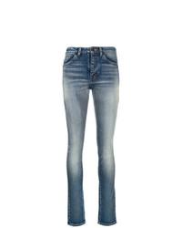 Saint Laurent Stonewashed High Rise Skinny Jeans
