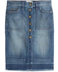 Current/Elliott Button Front Jean Skirt