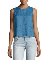 J Brand Saia Sleeveless Linen Chambray Top Blue