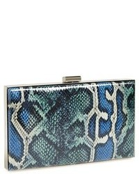 Blue Snake Leather Clutch