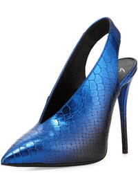 Blue Snake Leather Pumps