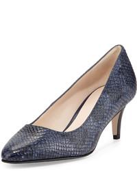 Lena Ii Snake Embossed Low Heel Pump Blazer Blue