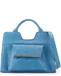 Bolaria snake embossed satchel blue medium 166213