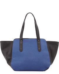 Snake embossed tote bag blue medium 166216