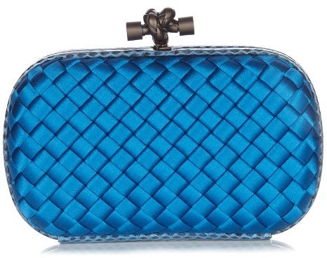 23817e773c ... Bottega Veneta Knot Satin And Water Snake Clutch