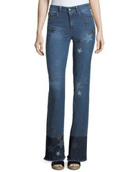 RED Valentino Redvalentino Stone Washed Stretch Denim Jeans W Star Patches