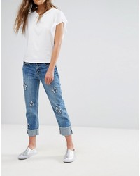 Mango Star Detail Cropped Jeans
