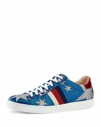 Gucci New Ace Metallic Star Low Top Sneaker