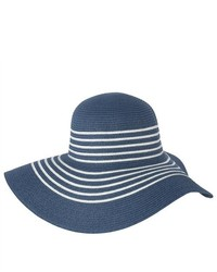 Luxury Lane Blue Striped Straw Floppy Sun Hat