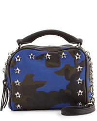 Ash Frankie Studded Leather Crossbody Bag Blue Camo