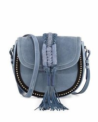 Ghianda studded suede saddle bag denim medium 4156447