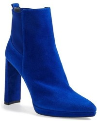 Blue Suede Ankle Boots