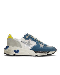 Golden Goose Blue And Grey Running Sole Sneakers