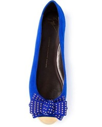 Blue Suede Ballerina Shoes