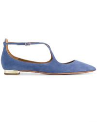 Aquazzura Blue Avery Suede Ballet Flats