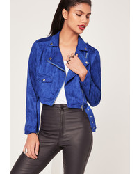 Missguided faux suede biker jacket cobalt blue medium 850725