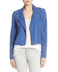Pam & Gela Suede Moto Jacket Size Large Blue