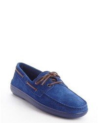 Tod's Blue Suede Moc Toe Boat Shoes
