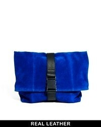 Asos Leather Oversized Soft Clutch Bag With Seat Belt Fastening Blue