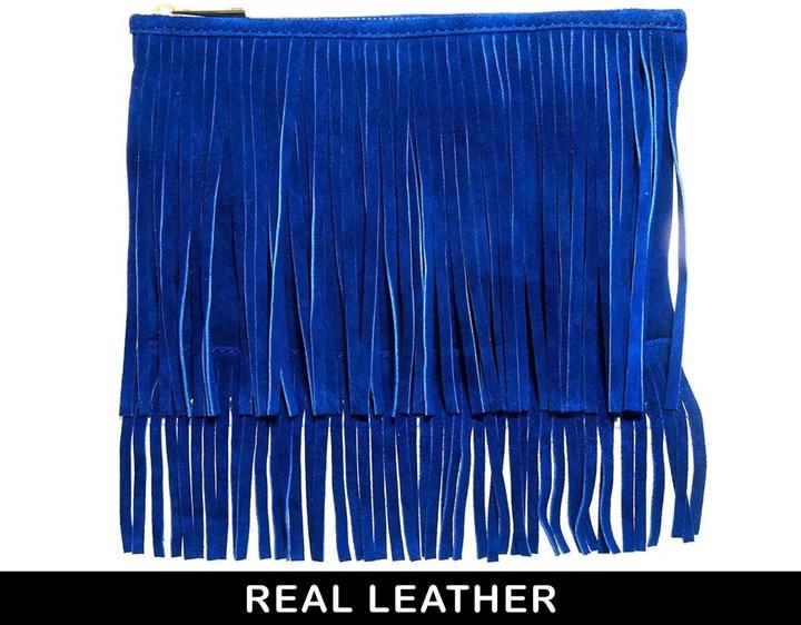 Blue Suede Clutch: Asos Suede Fringe Clutch Bag Blue