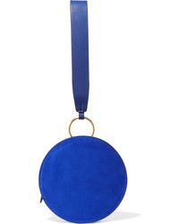 Circle leather and suede clutch royal blue medium 4393091