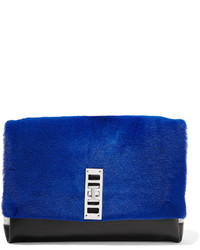 Proenza Schouler Elliot Shearling Leather And Suede Clutch