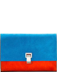 Proenza Schouler Ssense Peacock Blue Suede Small Lunch Bag Clutch