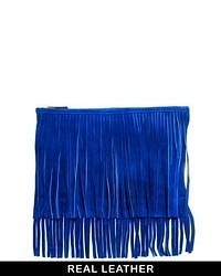 Asos Suede Fringe Clutch Bag Blue