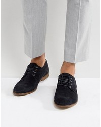 Asos Derby Shoes In Navy Suede With Perforated Detail