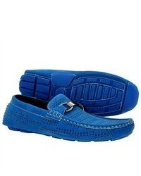 Brixton Shoes Casual Driving Moccasins Blue Synthetic Loafers