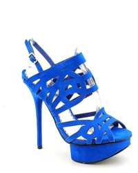Bebe Promise Blue Peep Toe Suede Dress Sandals Shoes