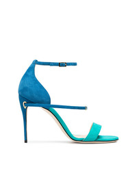 Jennifer Chamandi Blue And Green Rolando 105 Suede Sandals