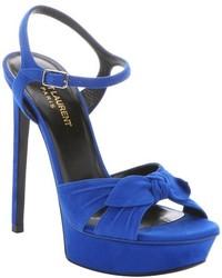 Saint Laurent Electric Blue Suede Bow Strap Bianca Platform Sandals