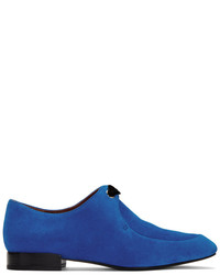Blue suede square lace up loafers medium 5218851