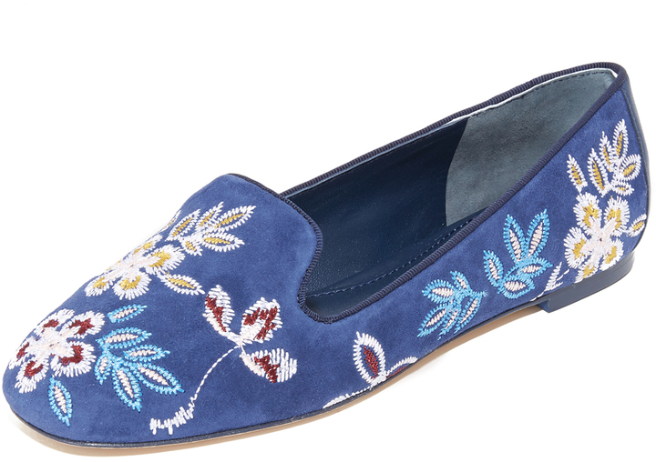 2beeb97f30e ... Suede Loafers Tory Burch Embroidered Floral Smoking Slippers ...
