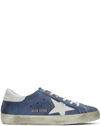 Golden Goose Deluxe Brand Golden Goose Blue Suede Superstars Sneakers