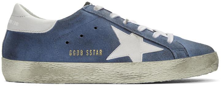 ... Golden Goose Deluxe Brand Golden Goose Blue Suede Superstars Sneakers  ... 5b2aa6672602