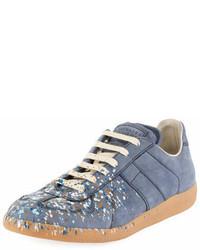 Maison Margiela Replica Paint Splatter Suede Low Top Sneaker Blue