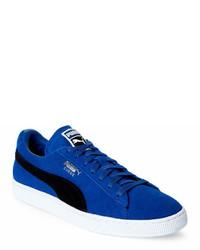 Puma True Blue Black Suede Classic Low Top Sneakers