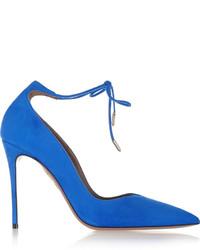 Aquazzura Allure Suede Pumps Cobalt Blue