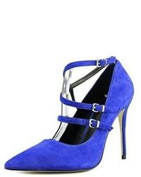 Nicole Miller Bristol Pointed Toe Suede Blue Heels