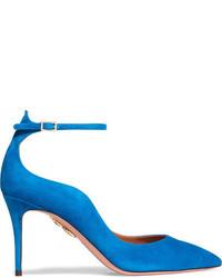 Aquazzura Dolce Vita Suede Pumps Bright Blue
