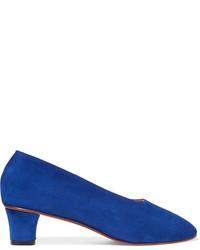 Martiniano High Glove Suede Pumps Blue