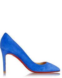 Christian Louboutin Pigalle 85 Suede Pumps Bright Blue