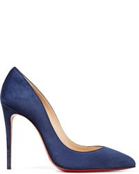 Christian Louboutin Pigalle Follies 100 Suede Pumps Navy